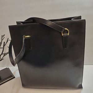 Vintage Black Leather  Shopper/Tote Fabric Linning
